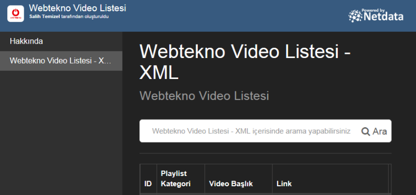Webtekno Video Listesi - XML