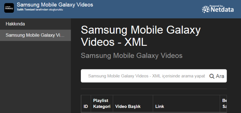 Samsung Mobile Galaxy Videos - XML