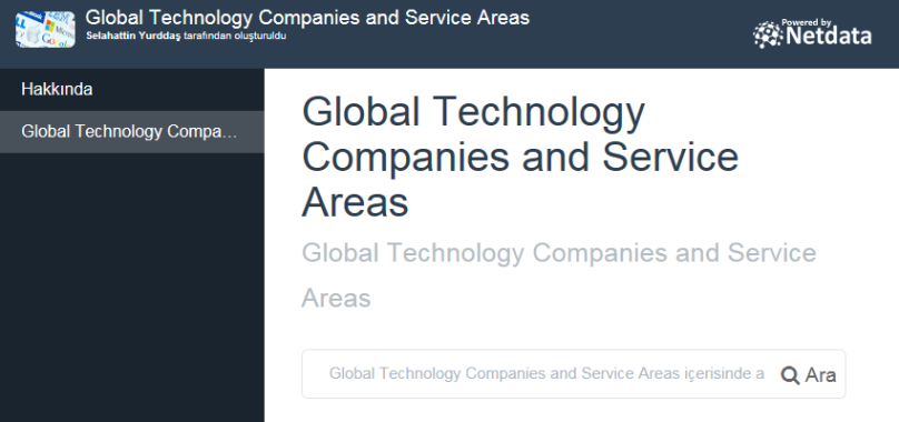 Global Technology Companies and Service Areas