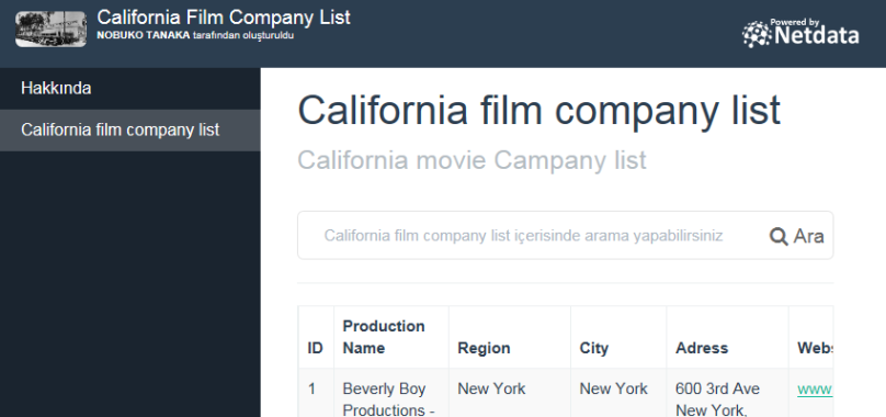 California film company list