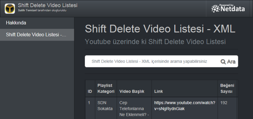 Shift Delete Video Listesi - XML