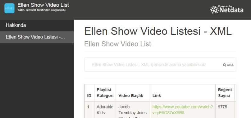Ellen Show Video Listesi - XML